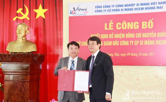Công ty CP Xi măng Vicem Hoàng Mai có Tổng giám đốc mới