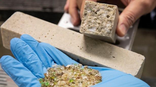 Thủy tinh có thể tái chế để sản xuất bê tông